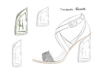En el boceto del zapato se trata de trazar a grandes rasgos la idea que has seleccionado, definiendo volúmenes, estilo, estructura y concepto.