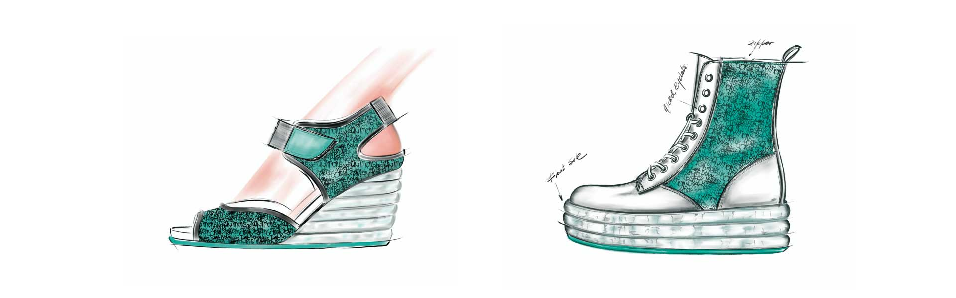 Shoe trend ss20 float mint materials sketch