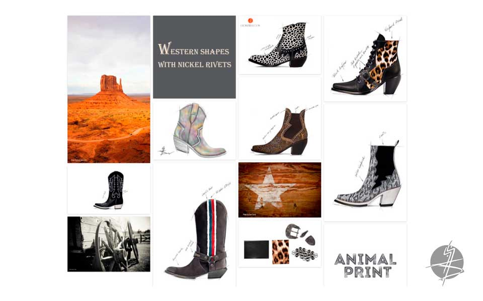 In Advance Women's Footwear Trend Fall / Winter 2020 - Western Key Moodboard - GlobalTriesse Footwear design studio