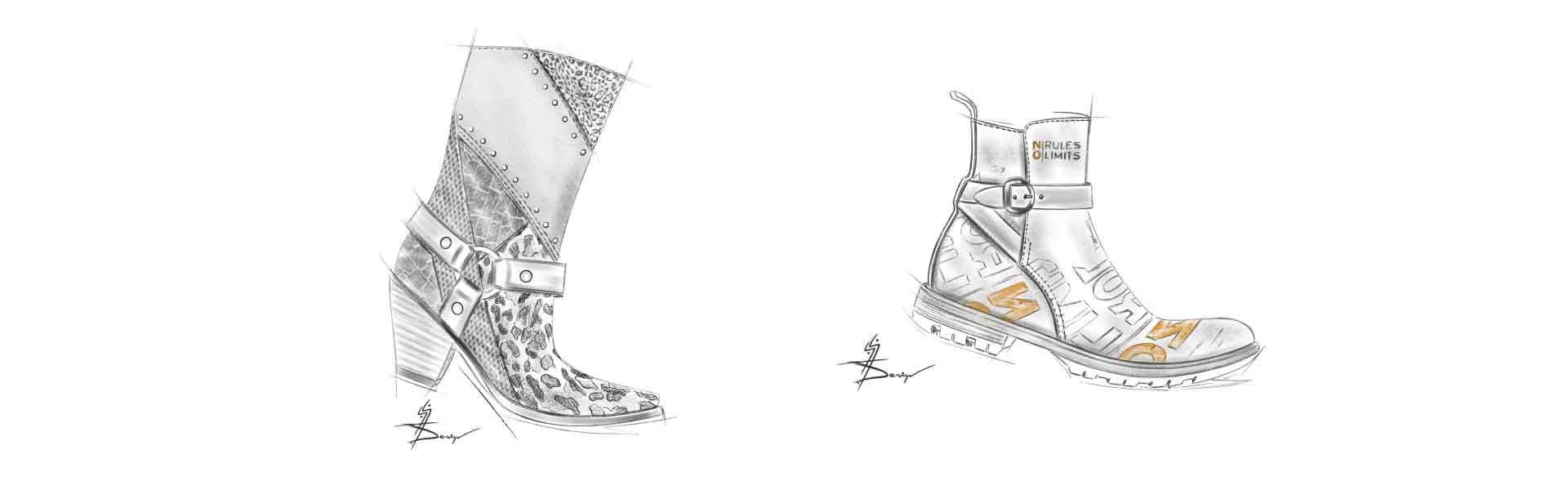 Footwear Trend FW20 Unconcluded Patchwork - Footwear Sketches