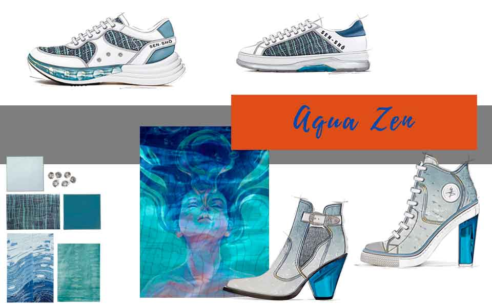 In advance SS21 Footwear Trend - Aqua Zen - GlobalTriesse Footwear Design Studio